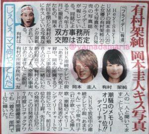 有村架純の岡本圭人のスポーツ新聞写真!交際否定画像